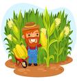 farmer in a cornfield vector image vector image