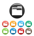 file folder icons set color vector image vector image