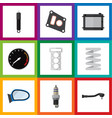 flat icon auto set of heater packing input vector image vector image