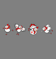 four snowmen with christmas theme vector image vector image
