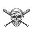 gangster skull in bandana vector image vector image
