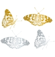 gold beautiful butterfly set vector image vector image