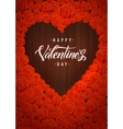 Happy Valentines Day Lettering Card Dark Wood vector image