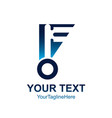 initial letter f logo template colored blue key vector image vector image