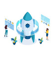 isometric start up a business project working vector image