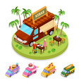 isometric street food kebab truck with people vector image vector image
