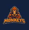 monkey mascot esport logo vector image vector image