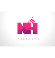 nh n h letter logo with pink purple color vector image vector image