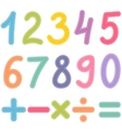 numbers from zero to nine and math symbols vector image vector image