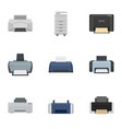 office printer icon set flat style vector image vector image