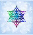 One big colorful snowflake on light blue