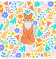 pattern with orange fox and flowers vector image vector image