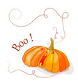 pumpkin boo with red eyes vector image vector image