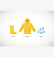 raincoat rainboots and drops icons set vector image vector image