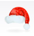 red santa claus hat with pattern golden sno vector image
