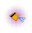 Scissors cut credit card icon comics style vector image vector image