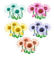 set flowers in different colors vector image