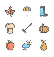 set of autumn icons collection of linear colored vector image