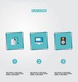 set of pc icons flat style symbols with vector image