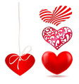 set of red various abstract hearts vector image