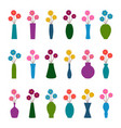 set of vases with flowers vector image