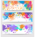 set three banners made paint stains vector image vector image
