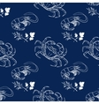 Shrimp dill crab on dark blue background vector image
