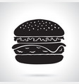 silhouette hamburger with cheese tomato and salad vector image vector image