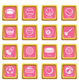 sport balls equipment icons set pink square vector image vector image