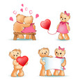 teddy bears collection love vector image vector image