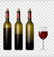 transparent bottle with red wine and glass vector image vector image