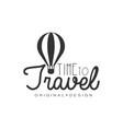 travel logo design with air balloon vector image vector image