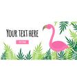 tropical leaves and pink flamingo frame banner vector image