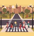 urban city street pedestrian crossing diverse vector image