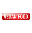 vegan food red square 3d realistic isolated web vector image vector image