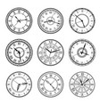 vintage clock faces retro watch dial signs vector image vector image