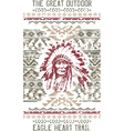 Vintage eagle heart chief trail vector image vector image