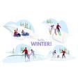 winter outdoor games flat vector image vector image