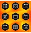 Calenadar Hexagonal icons set on abstract orange vector image
