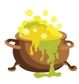 Witch bucket of boiling green liquid magic Potion vector image