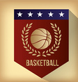 a red label with a basketball ball text and a laur vector image