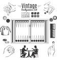 Backgammon Vintage Style Elements Set vector image vector image