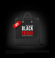 black friday concept paper bag with tag vector image vector image