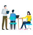 business appointment in company office workers vector image vector image