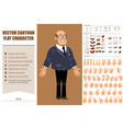 cartoon flat professor man character set vector image vector image