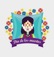 catrina with flowers and ribbon to day of the dead vector image vector image