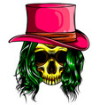 color woman skull pimp design vector image vector image