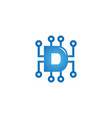 creative d letter technology logo vector image