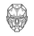 cyborg human iron face sketch engraving vector image