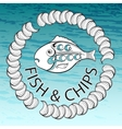 Fish and Chips on aquamarine background vector image vector image